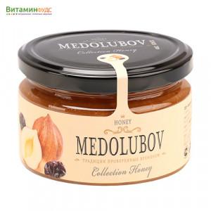Крем-мёд Медолюбов фундук с изюмом, 250мл