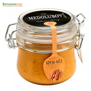 Крем-мёд Медолюбов с грецким орехом (бугель) 250мл