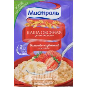 Каша овсяная Бананово-клубничный коктейль 40г, МИСТРАЛЬ