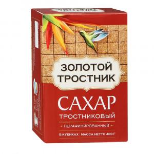 Сахар тростниковый нерафинированный в кубиках 400 г, ЗОЛОТОЙ ТРОСТНИК