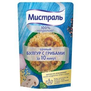 Второе блюдо легко готовить пряный Булгур с грибами 230г, МИСТРАЛЬ