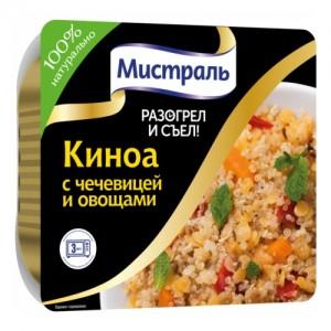 Второе блюдо МИСТРАЛЬ разогрел и съел Киноа с чечевицей и овощами 250г, МИСТРАЛЬ