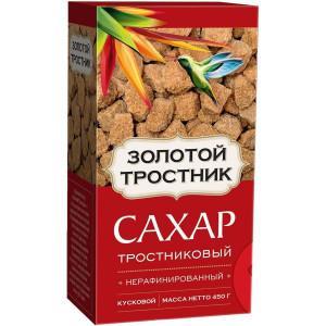 Сахар тростниковый нерафинированный кусковой 450 г, ЗОЛОТОЙ ТРОСТНИК