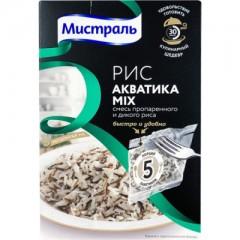 Рис Акватика Mix смесь пропаренного и дикого риса 5х80г*6, МИСТРАЛЬ в Пакетах для варки