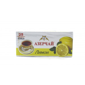 Чай АЗЕРЧАЙ черный Лимон, 25 пакетиков 45 г
