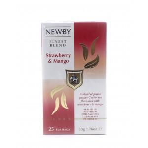 Чай NEWBY черный Клубника и манго, 25 пакетиков 50 г