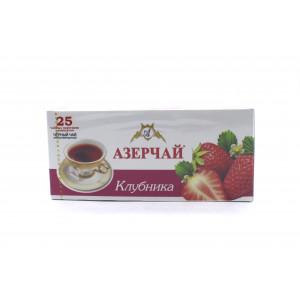 Чай АЗЕРЧАЙ черный Клубника, 25 пакетиков 50 г